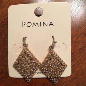 Jewelry - Gold Earrings with Rhinestone Studs